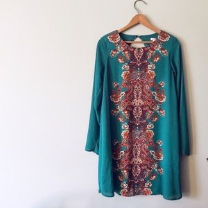 Xhileration Teal Brown Long Sleeve Dress